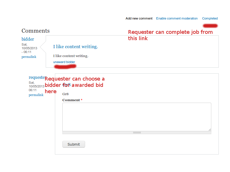 Requester choose bidder and complete content