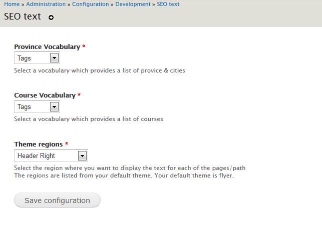 Drupal: Set content in a region programmatically | Configuration